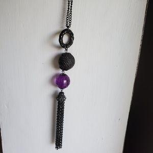Purple Jewel Long Necklace